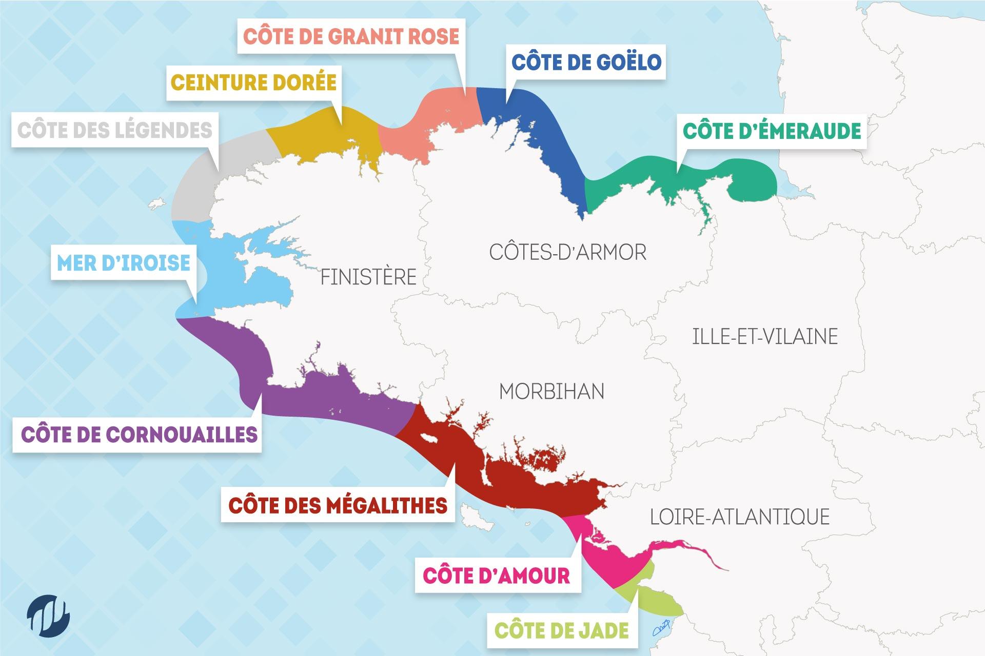 Carte Cote Ouest Bretagne.Connaitre Les Noms Des Cotes Du Littoral Breton Port D Attache
